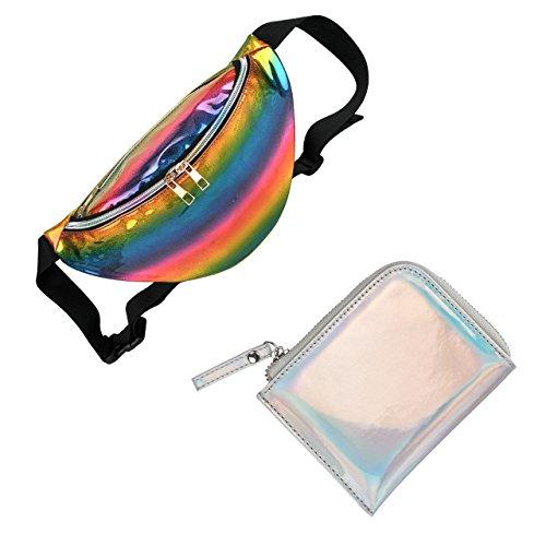 CHIC DIARY Damen Hipster Hüfttasche aus Laser-PU Gürteltasche Running Gürtel Tasche Bauchtasche Outdoor Sporttasche Wasserdicht (#06-Bunte Streifen+Laser Silber)