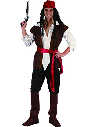 Pirate Fancy Kostüm Dress - Mens Caribbean Pirate Captain Costume Adult Fancy Dress Outfit Halloween Party Jack Sparrow (Men: Medium)