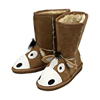 Lazy One Unisex Horse Toasty Toez Slippers Kids Brown