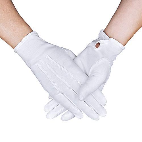 OLESILK Parade Handschuhe für Frauen und Herren Weiße Baumwolle formelle Smoking Kostüm Ehrengarde Handschuhe mit Schnappverschluss Inspektionshandschuhe Für Münzen, Schmuck, Silber, Weiß, 1Paar (Drei Weise Männer Kostüm)