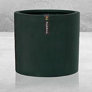 20cm Plant Pot by Fox & Fern - Perfectly Fits Mid-Century Modern Plant Stand - Drainage Plug - Black Stone