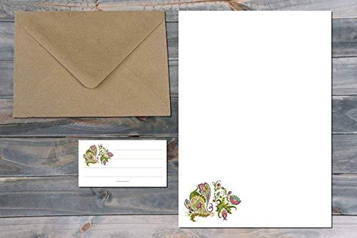 A5 Briefpapier Set ⎜15-teilig ⎜ Florentiner Stil No 1 - Florentiner-set