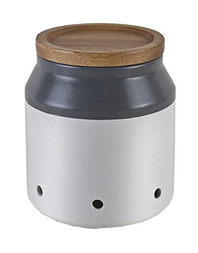 Jamie Oliver Keramik Knoblauchbehälter mit Akazienholzdeckel Storage, cremeweiß, anthrazit, 11 x 11 x 12,5 cm