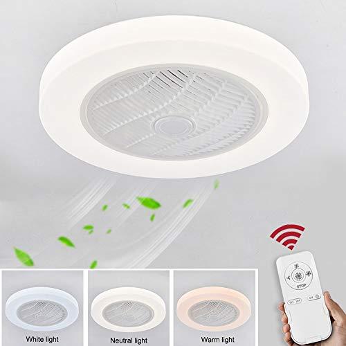 Ventilador de techo con lámpara, Con rueda de viento circulante lámpara de techo LED de 36W control...