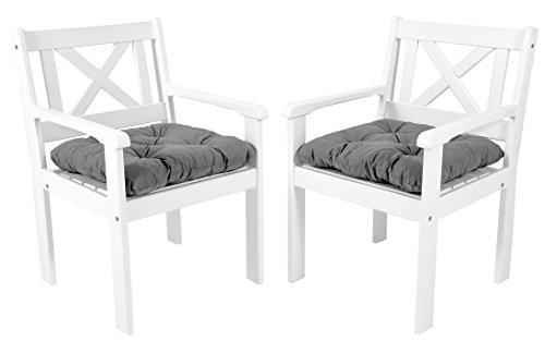 Ambientehome Garten Sessel Stuhl Massivholz inkl. Kissen EVJE, Weiß, 2-teiliges Set