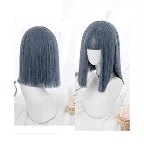 Glatze Mütze Mit Haaren - WADDR Perücke Kurze Lange Bangs Grau