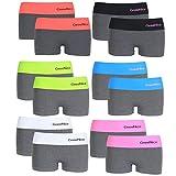 12er Pack Damen Unterwäsche Hot Pants Dessous Gogo Panty Grau mit Farbigen Bund, Größe:L-XL = 40/42