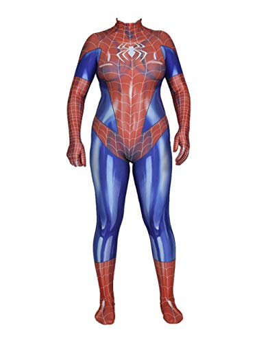 Drucken Korsett-set (ASJUNQ Jamie Spider-Man Strumpfhosen Kleid Cosplay Siamesisches Korsett Halloween Set Theme Party Movie Requisiten,Men-XXXL)