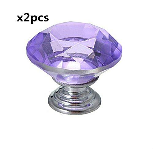 2pezzi 30mm Cristallo Taglio Diamante Tondo Piatto Pomello per armadio, armadietto, cassetto, petto, Bin, Cassettiera, Armadio, ecc. con vite Set Home Decoration