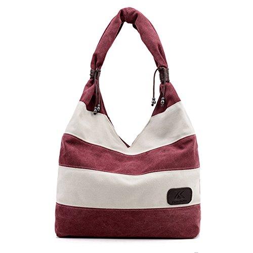 Ladies singola borsa a tracolla,borsa di tela,borsetta-Blu Rosso