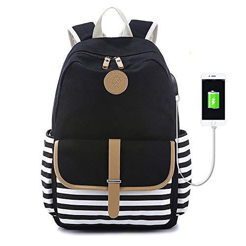 48037dfc318ad Mädchen Leinwand Schule Rucksack Büchertasche Hochschule USB Laptop Rucksack  Reisen Daypack für Teenager Mädchen und Frauen