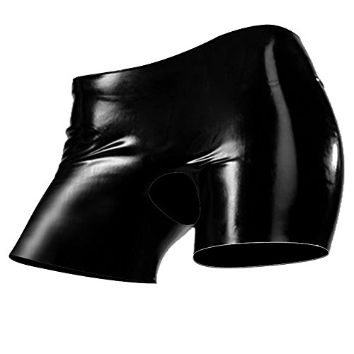 EXLATEX Frauen Latex Shorts Gummi Slips Schl¨¹pfer mit Open Crotch