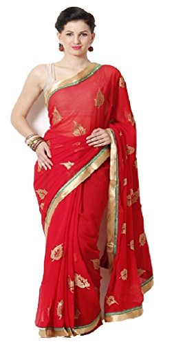 I-Brand Red Color Georgette & Banglori Fabric Embroidery Saree ( New Arrival Latest Best Design Beautiful Dresses Material Collection For Women and Girl Party wear Festival wear Special Function Events Wear In Low Price With High Demand Todays Special Offer and Deals with Fancy Designer and Bollywood Collection 2017 Punjabi Anarkali Chudidar Patialas Plazo pattern Suits )