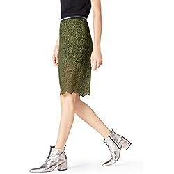 FIND Falda Ajustada de Encaje para Mujer , Verde (Khaki), 46 (Talla del Fabricante: XX-Large)