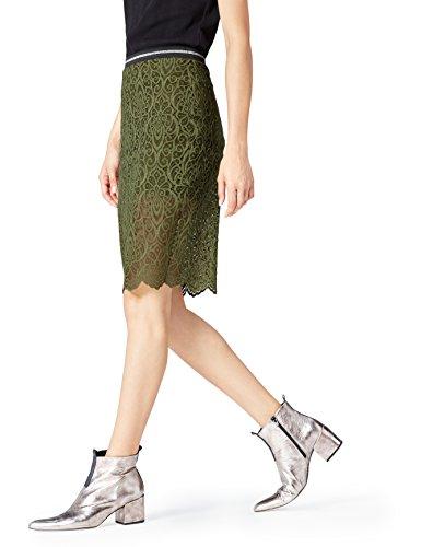 find. Lace Hem  Gonna Donna, Verde (Khaki), 50 (Taglia Produttore: XX-Large)