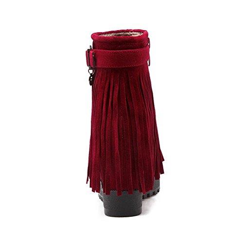 AgooLar Damen Reißverschluss Hoher Absatz Rinder Wildleder Reißverschluss Stiefel Rot