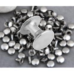 Ecloud Shop® 50X Apliques Remaches Metal 8mm Redondo Studs Punk Bolsa/Calzado/Guante