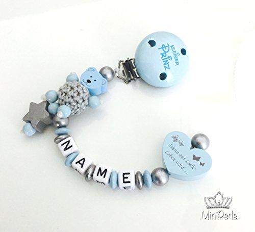 Schnullerkette mit Namen - Bär mit Häkelperle - Wenn aus Liebe Leben wird... - Kleiner Prinz -Junge - silber - grau- blau - C012 - Leben Jahre