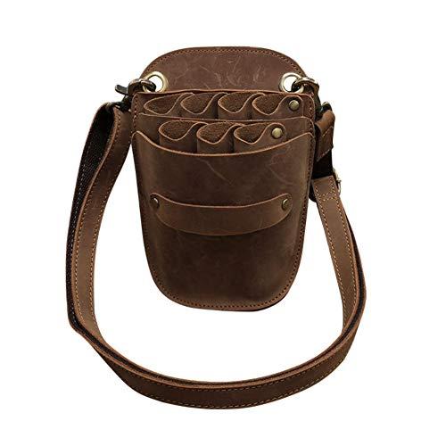 Werkzeugtasche für Friseursalon, aus Rindsleder, mit Gürtel, für 7 Scheren - Leder Echtes Gürtel