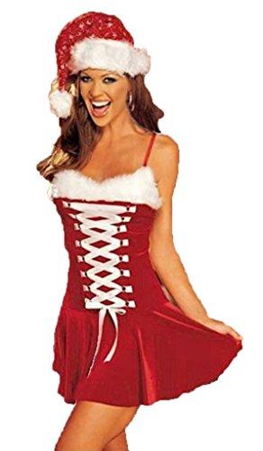 aimerfeel-Damen sexy Santa-Outfit in dicken roten Veloursmaterial für Dieses spezielle Gefühl Größe ()