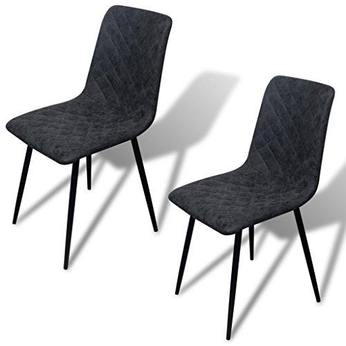 Festnight 2er-Set Esszimmerstühle Essstuhl Küchenstühle Kunstleder-Bezug Esszimmer Stuhl Kunstlederstuhl 44x56,5x87,5cm Schwarz