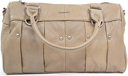 Damenhandtasche/Schultertasche aus weichem Leder Beige ...