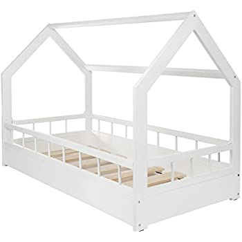 lit maison cabane 2 en 1 avec barreaux chambre d 39 enfant bois naturel 160x80 cm blanc amazon. Black Bedroom Furniture Sets. Home Design Ideas