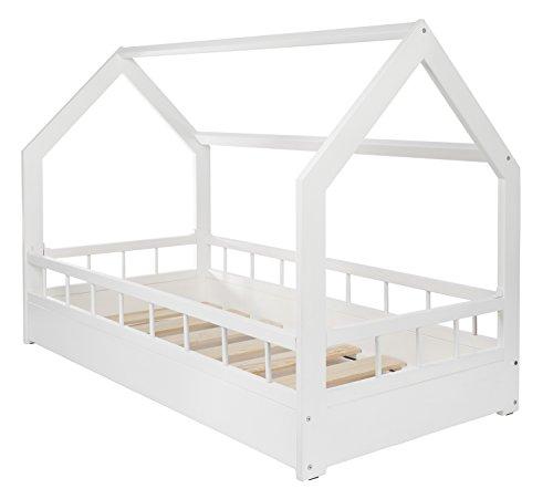 *Kinderbett Hausbett Spielbett Abenteuerbett Einzelbett mit Absturzsicherung (Farbe: weiß)*