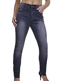 ICE (1527-1) Jeans en Denim Extensible Délavé Gris