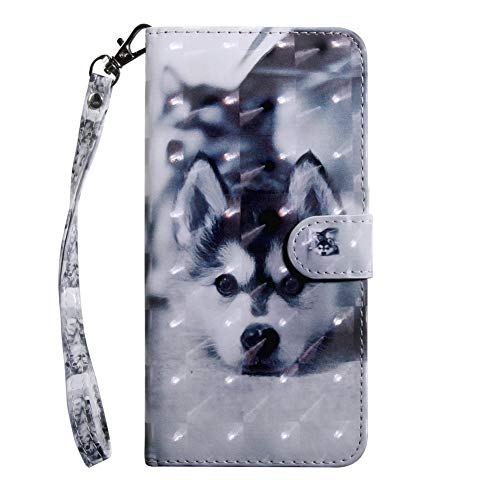 Coopay für iPhone 6 6S Hülle,Glitzer Material Ledertasche Schutzhülle,Flip Stoßfest Lederhülle, Standfunktion Kartenfach Brieftasche,Muster Wallet Case Cover Etui,Tier Hund + 1x Schlüsselband