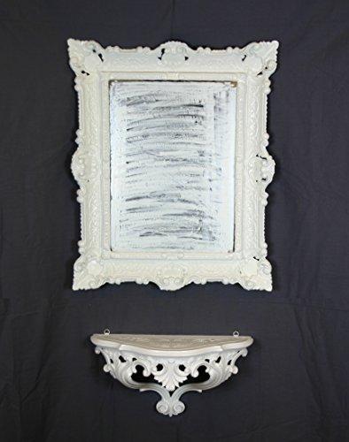 Ideacasa Jeu Console étagère Blanc + Miroir Blanc Maison Imitation Vintage Style Louis XVI