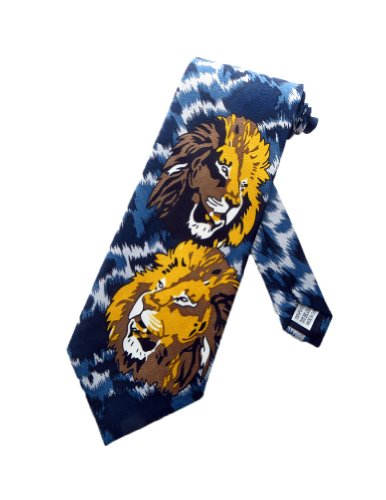 parquet-lion-mens-sovrano-of-the-jungle-cravatta-blue-gray-unica-cravatta