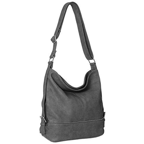 CASPAR TS732 große Damen Umhänge Tasche, Farbe:dunkelgrau