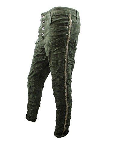 Cord Stretch Baggy Boyfriend Hose 4 Knöpfe offene Knopfleiste seitliche Streifen Große Größen (3XL-46, grün) (Grüne Stretch-cord)