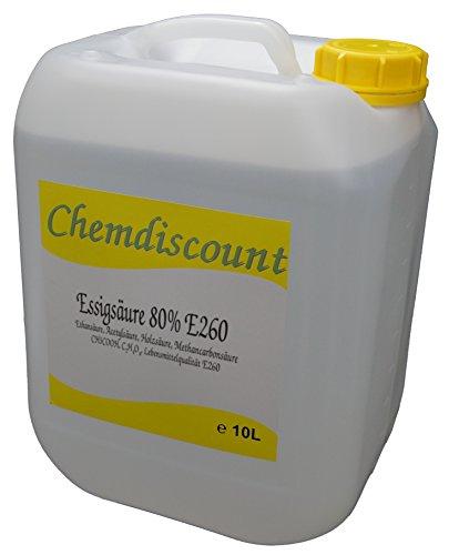 10Liter (ca. 10,8kg) Essigsäure 80%, Lebensmittelqualität E260, versandkostenfrei!