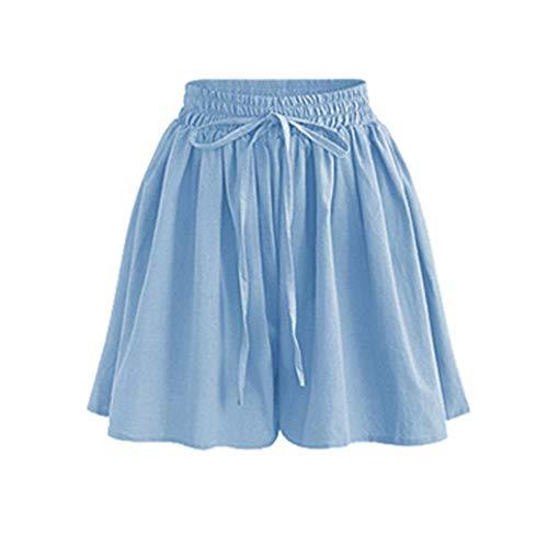 mmer Frauen Shorts Hohe Taille Lose Chiffon Shorts Plus Größe 6XL Weibliche Slacks Große Größe Shorts SeichtBlau ()
