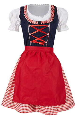 MS-Trachten 3 teiliges Kinder Jeans Dirndl Trachtenkleid Selli (164, rot)