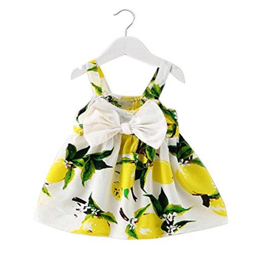 REALIKE Mädchen Baby Zitrone Bow Mini Kurz Kleid Elegant Ärmellos Schulterfrei Prinzessin Floral Kleid Sommerkleid Cocktailkleid Festlich BabybekleidungAbendkleid Partykleid