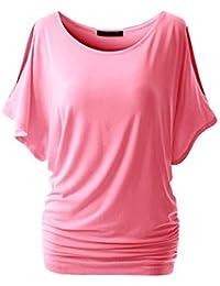 Femme Top Blouse Chemise Manches Chauve-Souris T-shirt Extensible Grande Taille Tunique