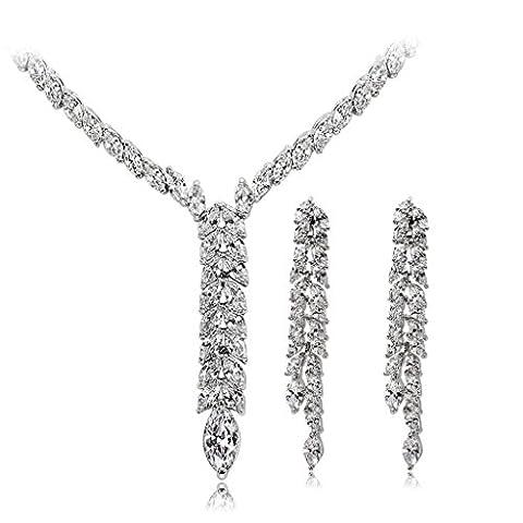 AMDXD Ensemble de Bijoux Argent Plaqué Femmes Collier Blanc Brillant Blé CZ,Comme Meilleur Cadeau pour
