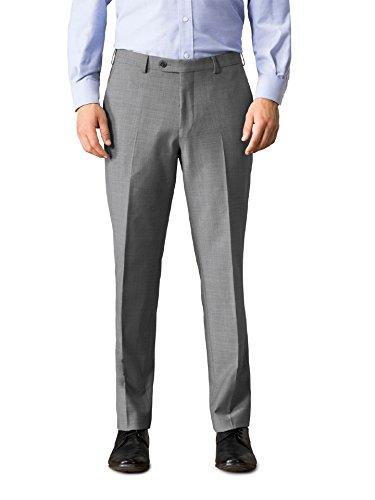 Walbusch Herren Traveller Anzug-Hose Regular Fit einfarbig Mittelgrau 52 - Herren Traveller Hose