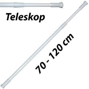 Teleskop Duschstange Duschvorhangstange, Teleskopstange (Verstellbereich 70-120 cm, Weiß)