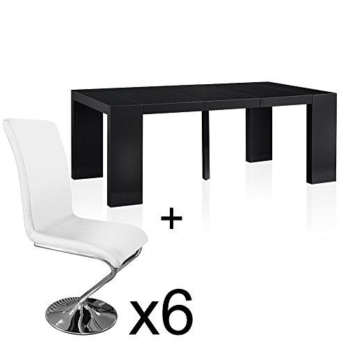 INTENSEDECO Table Extensible Noir laqué + 6 chaises Colami Blanc