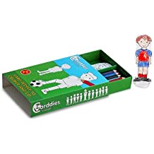 CARDDIES FOOTBALL CARD PEOPLE Colour and Play Set - Portable Art Kit with Sturdy Card Football Players, Coach & Soccer Pitch Playscene - Premium Colouring Pencils for Creating your Top Scoring Team - Plastic Football an Stands for Pretend Play Action Matches-Perfect Travel Toy