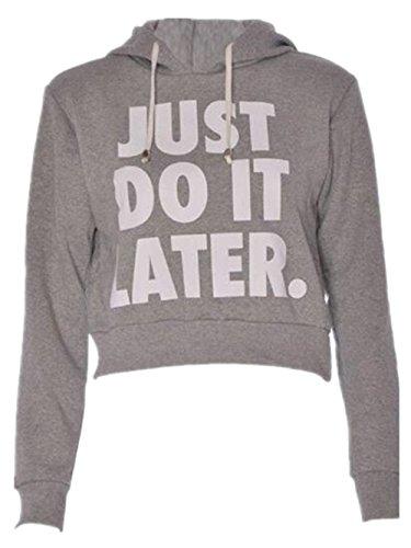 Haililais Mode Femmes Détendu T-shirt Court Lettres University Couleur Unie Hooded Sweatshirts à Manches Longues Pull Décontracté Vêtement Grey