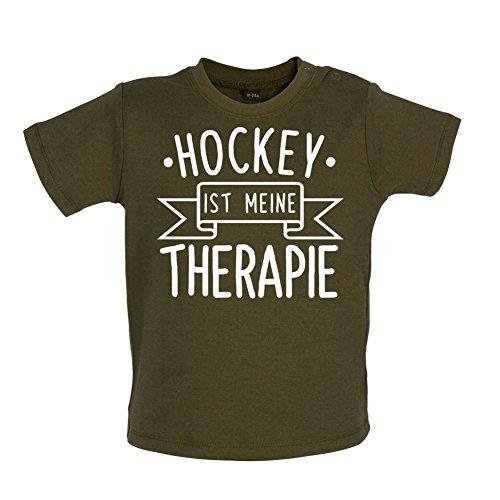Hockey ist meine Therapie - Baby T-Shirt - Grün Camouflage - 3 bis 6 Monate (Schienbeinschützer Bekleidung)