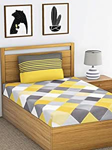 Ahmedabad Cotton 144 TC Cotton Single Bedsheet with 1 Pillow Cover - Yellow and Grey (60 inch x 90 inch)