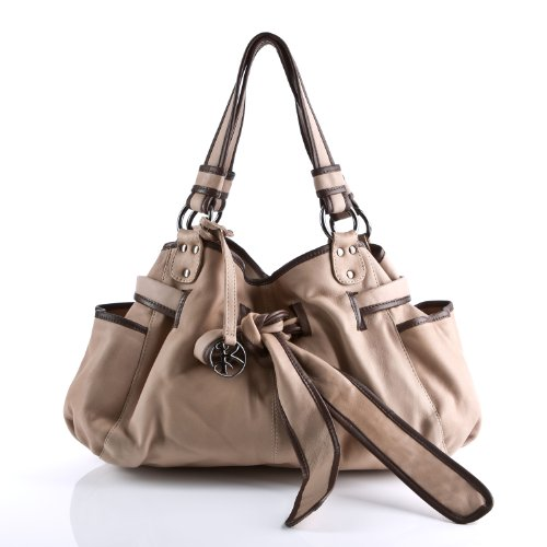 BACCINI Schultertasche BOW - Umhängetasche - Damentasche mit eleganter Schleife - echt Leder camel-beige (Leder-camel Hobo)