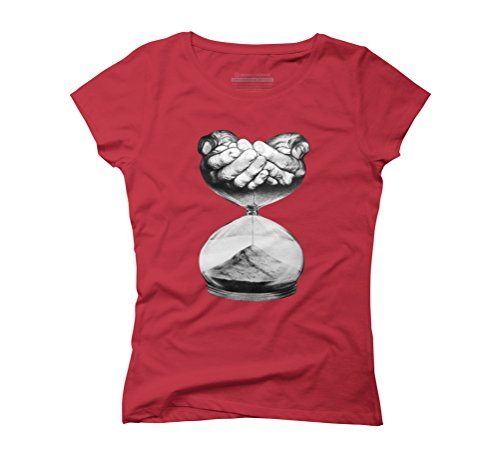 Time Women's Small Red Graphic T-Shirt - Design By Humans