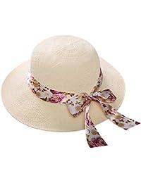YFairy Sun Hat – Cappello da sole estivo in paglia stile country con stampa  floreale nastro di raso fiocco a tesa… b6462dffb9d6